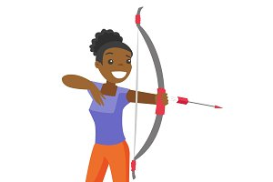 Black sportswoman holding bow and arrow.