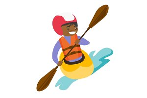 Young black woman riding a kayak.