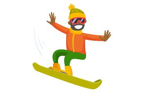 Young black man riding a snowboard.