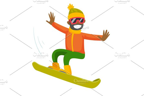 Young Black Man Riding A Snowboard