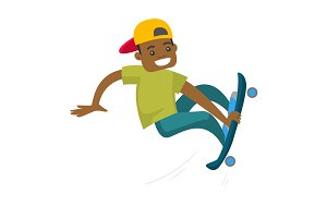 Black man riding a skateboard.