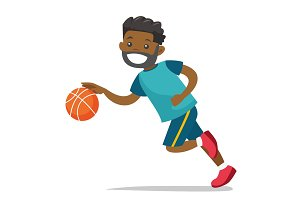 Young black playing basketball.