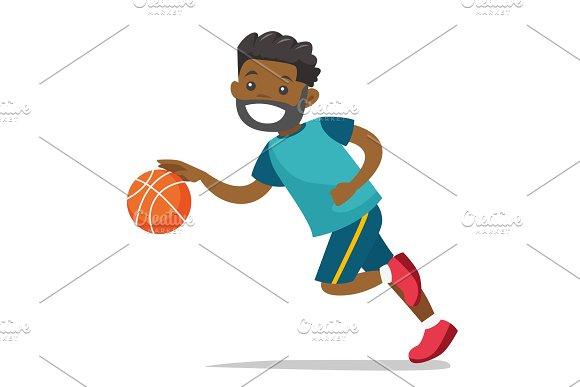 Young Black Playing Basketball