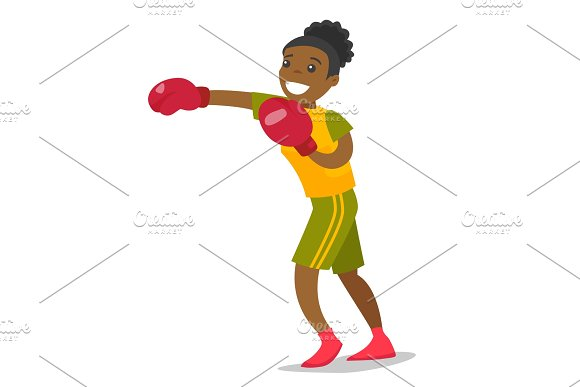 Black Boxer Training In Boxing Gloves