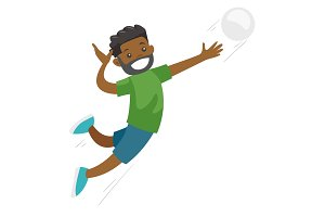 Black sportsman playing volleyball.