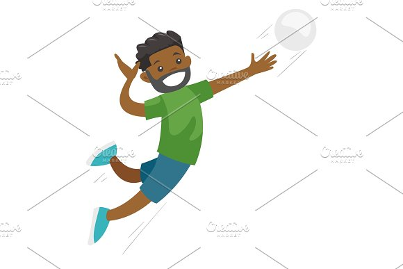 Black Sportsman Playing Volleyball