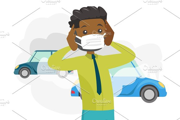 Man Wearing Mask Because Of Toxic Air Pollution