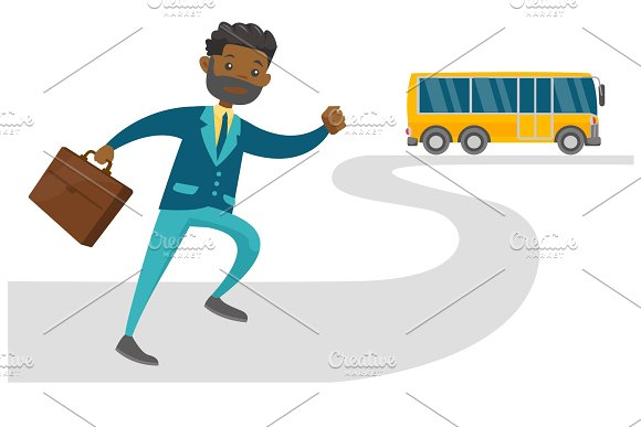 Black Latecomer Man Running For The Bus