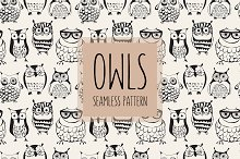 Vector Seamless Pattern with Owls