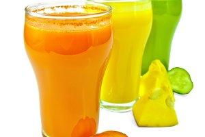 Juice vegetable in three glasses