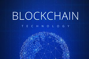 Blockchain technology futuristic hud banner with globe.