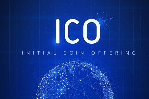 ICO initial coin offering futuristic hud banner with globe and h