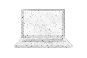Polygon laptop isolated on white background.