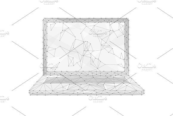 Polygon Laptop Isolated On White Background