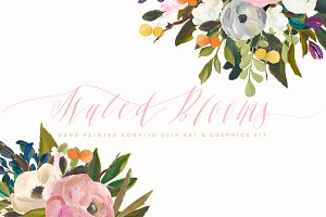 Acrylic Clip Art Kit  - Muted Blooms