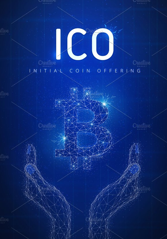 ICO Initial Coin Offering Futuristic Hud Banner With Bitcoin Sym