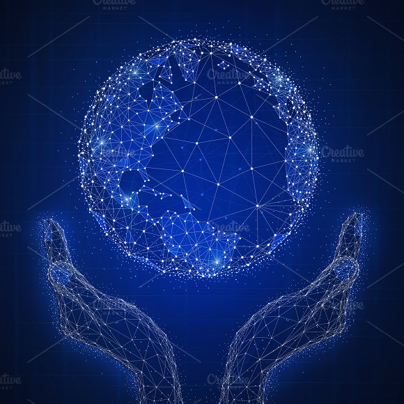 Blockchain Technology Futuristic Hud Banner With Globe In Hands