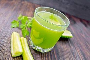 Juice cucumber in glassful