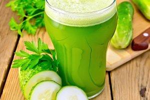 Juice cucumber in glass