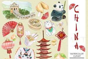 China Clipart Watercolor