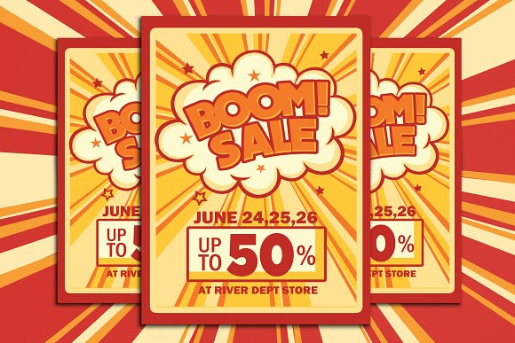 Retro Boom Sale Promotion Flyer