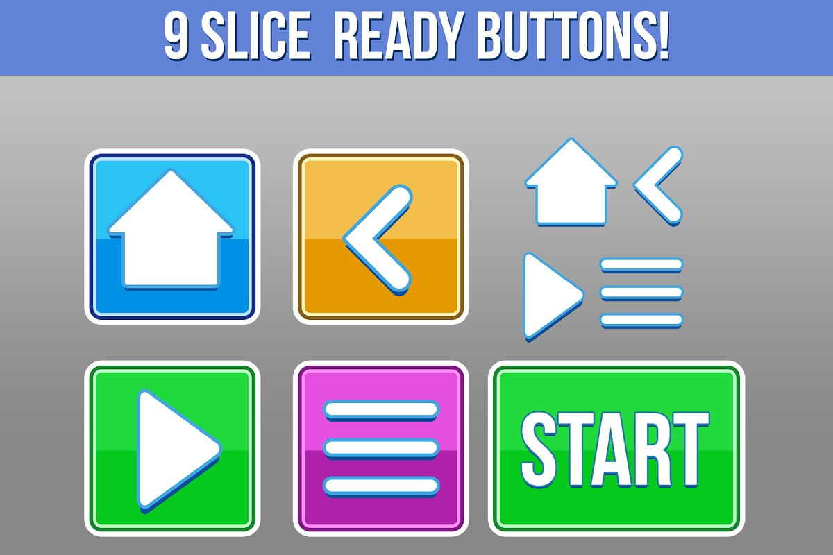 Square Game Buttons