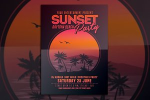 Sunset Beach Party Flyer
