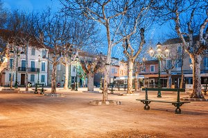 French town at night