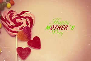 Mother's day greeting card with hear