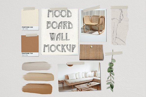 Product Mockups: New Tropical Design - Mood Board Wall Mockup - PSD