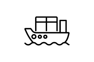 Web line icon. Cargo Ship black
