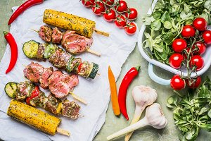 Meat Skewers for grill and vegetable