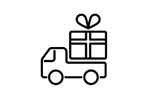 Truck with a gift, Delivery icon