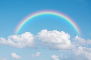 classic rainbow across in the sky