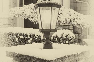 Vintage style lamp during winter