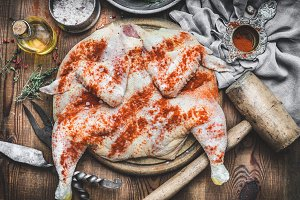 Cooking preparation of grill chicken
