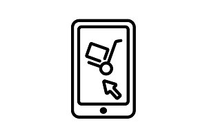 Trolley and smartphone&#x3B; online icon