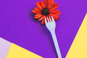 fork with orange flower