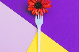 Plastic fork with orange flower