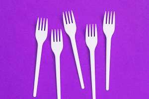 forks on  purple