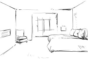 Bedroom modern interior vector drawing isolated on white background
