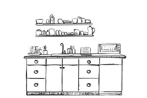 Kitchen furniture sketch. Hand drawn cupboard.
