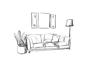 Contemporary modern interior hand drawing vector illustration.