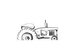 Sketch of tractor. Cartoon farm logo. Agricultural symbol