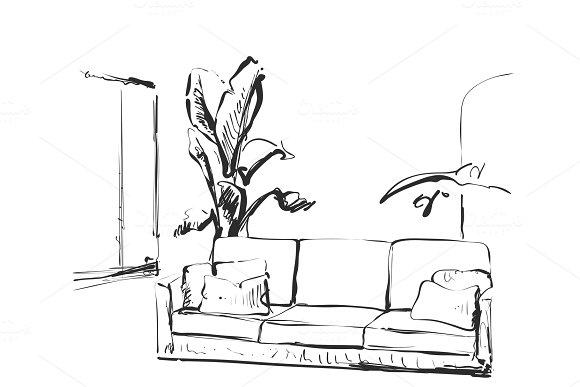 Contemporary Modern Interior Hand Drawing Vector Illustration