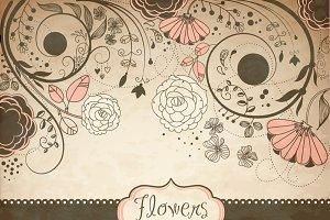Vintage flower ClipArt,floral border