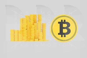 Bitcoin coins.