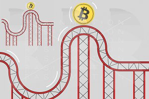 Bitcoin coin on roller coaster