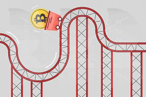 Bitcoin coin on roller coaster fluct