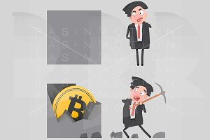 Businessman mining for bitcoin.